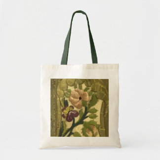 Vintage Embroidered Leaves and Flowers Tote Bag