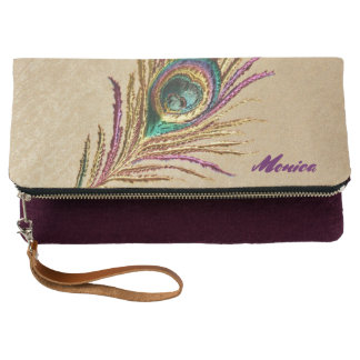 Vintage Embroidered Peacock Feather Personalized Clutch