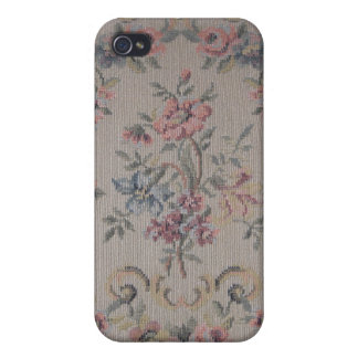 Vintage Embroidery Needlepoint Rose Fabric Case For iPhone 4