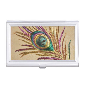 Vintage Embroidery Peacock Feather Business Card Holder
