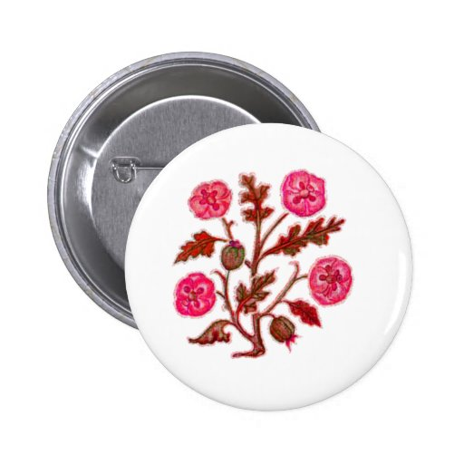 Vintage Embroidery Style Flowers Button
