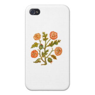 Vintage Embroidery Style Flowers iPhone 4 Cover
