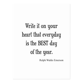 Vintage Emerson Best Day of the Year Quote Postcard