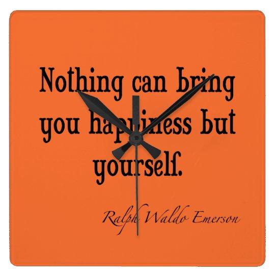 Vintage Emerson Happiness Quote Nectarine Orange Clock