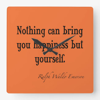 Vintage Emerson Happiness Quote Nectarine Orange Square Wall Clock