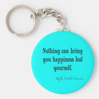 Vintage Emerson Happiness Quote Neon Blue Teal Keychain