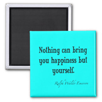 Vintage Emerson Happiness Quote Neon Blue Teal Magnet