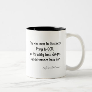 Vintage Emerson Inspirational Courage Quote Two-Tone Coffee Mug