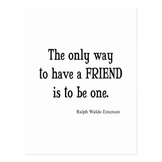 Vintage Emerson Inspirational Friendship Quote Postcard