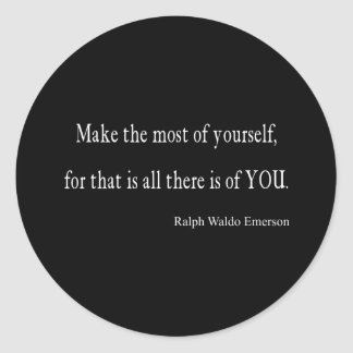 Vintage Emerson Inspirational Quote - Customizable Classic Round Sticker