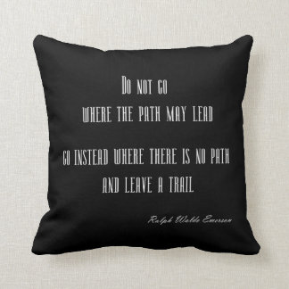 Vintage Emerson Inspirational Quote on Black Throw Pillow