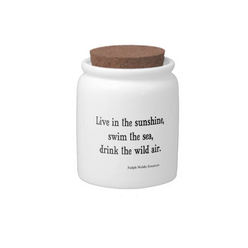 Vintage Emerson Live in Sunshine Quote Candy Jar