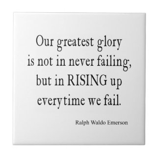 Vintage Emerson Overcoming Failure Quote Tile