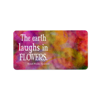 Vintage Emerson The Earth Laughs in Flowers Quote