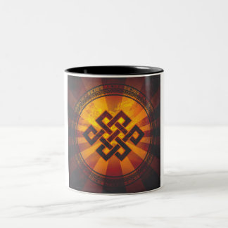 Vintage Endless Knot Print Two-Tone Coffee Mug