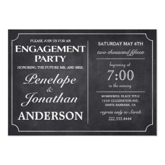Vintage Engagement Party Invitations Chalkboard