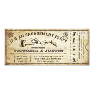 Vintage Engagement Party Ticket Invitation III
