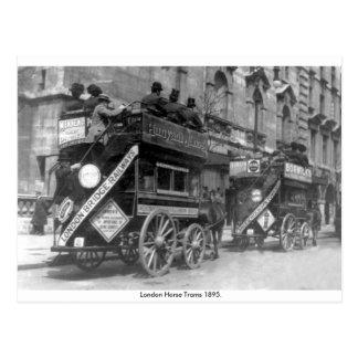 Vintage England, London horse trams Postcard