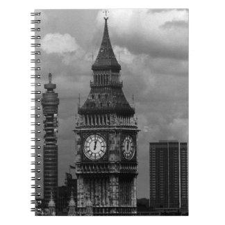 Vintage England London post office tower Big ben Notebook
