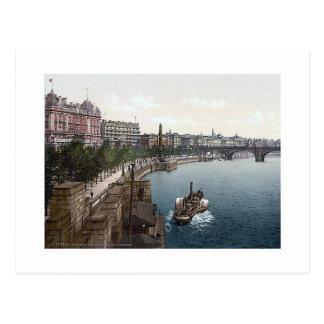 Vintage England London Thames Embankment 1890's Postcard
