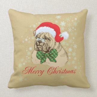 Vintage English Bulldog Christmas Throw Pillow