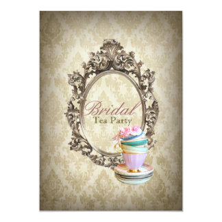 "vintage english country damask  bridal tea party 5"" x 7"" invitation card"