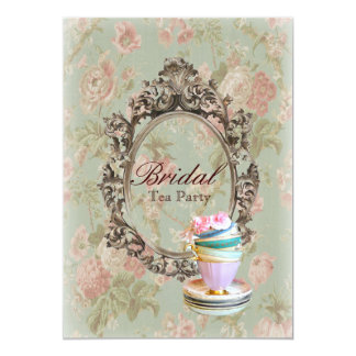 """vintage english country floral  bridal tea party 5"""" x 7"""" invitation card"""
