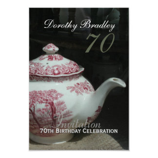Vintage English Teapot 70th Birthday Invitation