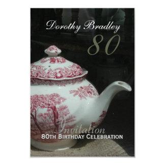Vintage English Teapot 80th Birthday Invitation