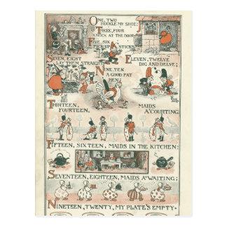 Vintage Ephemera Nursery Rhyme Postcard