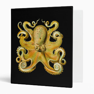 Vintage Ernst Haeckel Octopus in Yellow Vinyl Binder