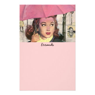 vintage Errands in Rain Shopping List Lists Paper