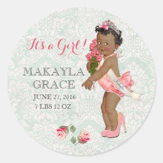 Vintage Ethnic Baby Princess Girl Customize Name Classic Round Sticker