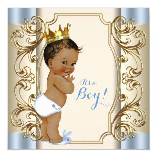 Vintage Ethnic Prince Blue and Gold Baby Shower Card
