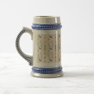 Vintage ethnic tribal aztec bird beer stein
