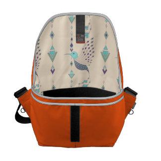 Vintage ethnic tribal aztec bird courier bag