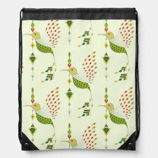 Vintage ethnic tribal aztec bird drawstring bag