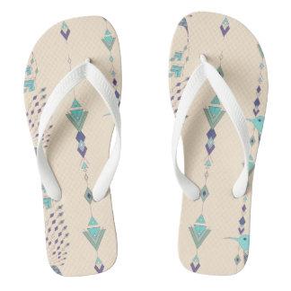 Vintage ethnic tribal aztec bird flip flops