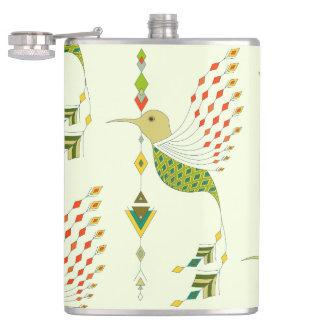Vintage ethnic tribal aztec bird hip flask