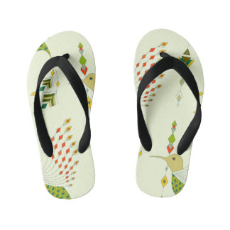 Vintage ethnic tribal aztec bird kid's flip flops