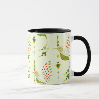 Vintage ethnic tribal aztec bird mug