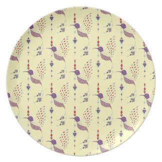 Vintage ethnic tribal aztec bird plate