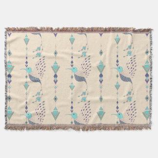Vintage ethnic tribal aztec bird throw blanket