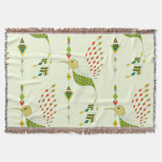 Vintage ethnic tribal aztec bird throw blanket