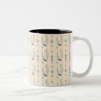 Vintage ethnic tribal aztec bird Two-Tone coffee mug
