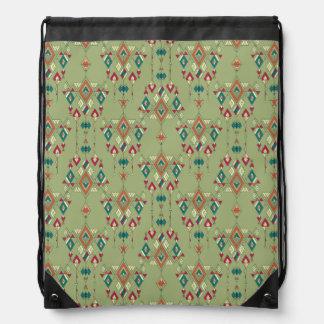 Vintage ethnic tribal aztec ornament drawstring bag