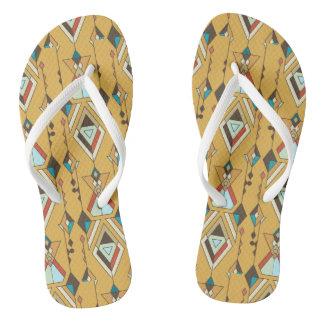 Vintage ethnic tribal aztec ornament flip flops