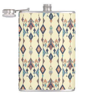 Vintage ethnic tribal aztec ornament hip flask