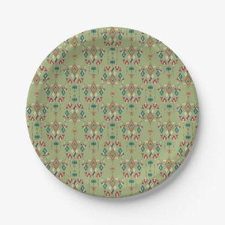 Vintage ethnic tribal aztec ornament paper plate