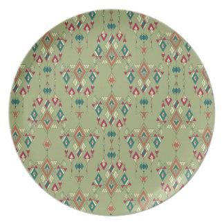 Vintage ethnic tribal aztec ornament plate